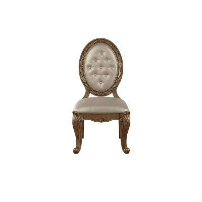Orianne Champagne Leatherette and Antique Gold Side Chair (Set of 2)