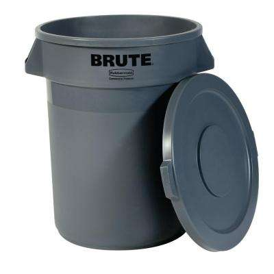 Brute 20 Gal. Grey Round Trash Can with Lid