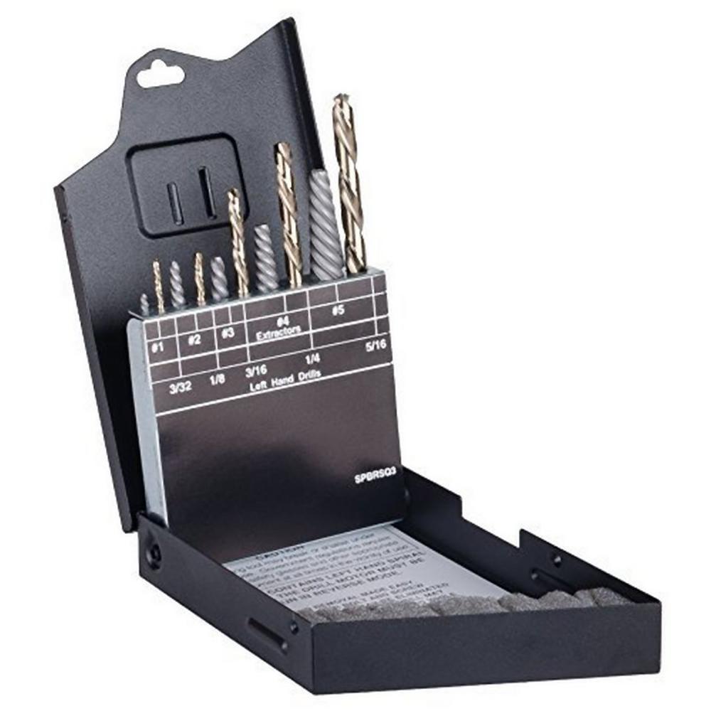 Hi-Carbon Steel Bolt Extractor Set with Metal Case (10-Piece)