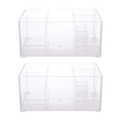 Drawer Organizer Bin, 8 Compartments in Clear (Set of 2)