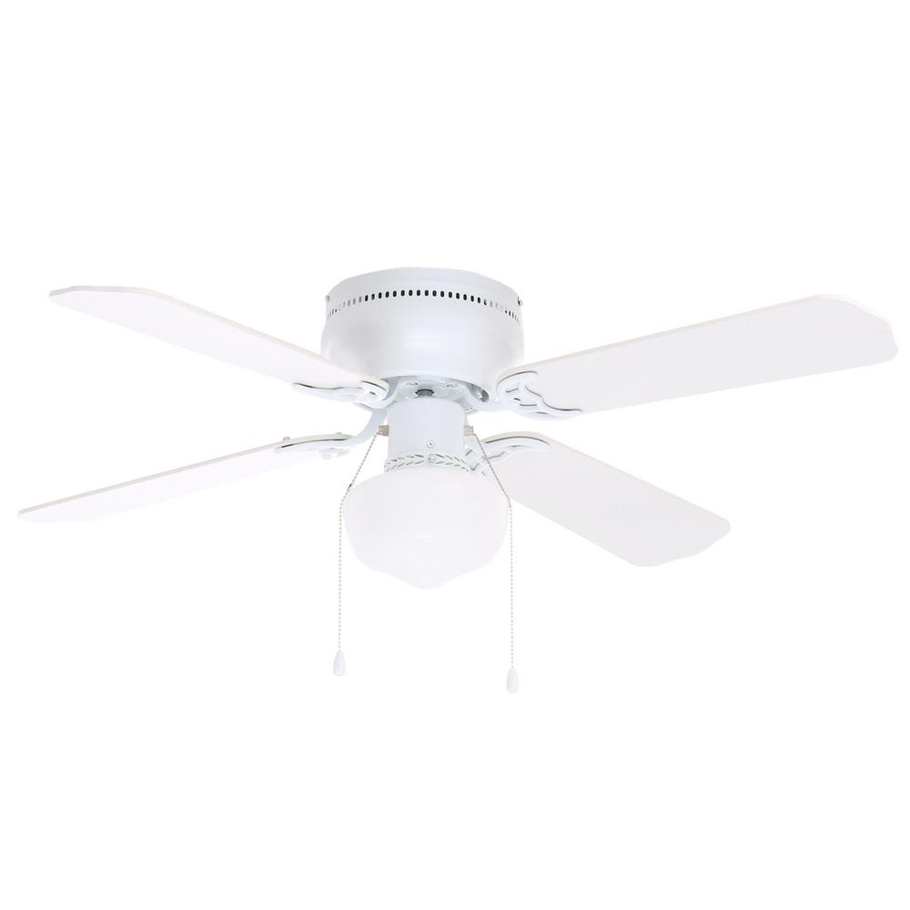 Littleton 42 in led indoor white ceiling fan with light for White contemporary ceiling fans with lights