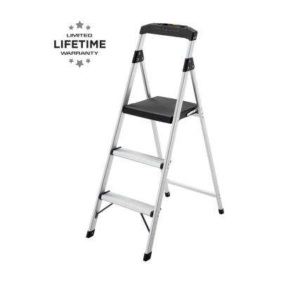 3-Step Aluminum Step Stool Ladder, 250 lbs. Type I Duty Rating