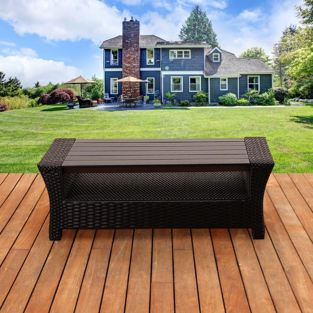 Atlantic Contemporary Lifestyle Bradley Black Synthetic Wicker Patio Coffee Table With Plastic Wood Top
