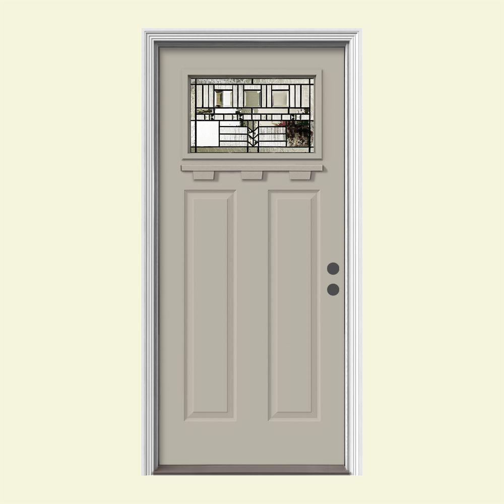 JELD-WEN 36 in. x 80 in. 1 Lite Craftsman Oak Park Desert Sand Painted Steel Prehung Left-Hand Front Door w/Brickmould and Shelf