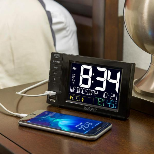 La Crosse Technology-Desktop 5.89 in. x 3.51 in. Dual USB Charging Station with Dual Alarms and Nap Timer