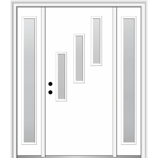 Mmi Door 68 5 In X 81 75 In Davina Right Hand Inswing 3 Lite Frosted Painted Fiberglass Smooth Prehung Front Door W Sidelites Z0347983r The Home Depot