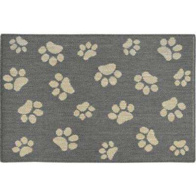 Comfy Pooch Gray/Tan Paw 23.6 in. x 35.4 in. Pet Mat