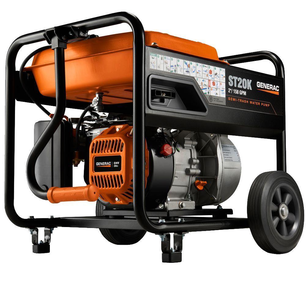 Generac 5 HP 2 in. Gas Powered Semi-Trash Water Pump with Hose Kit