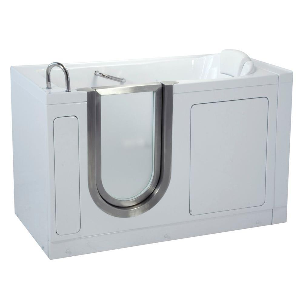 Ella Deluxe 4.58 ft. x 30 in. Acrylic Walk-In Soaking Bathtub in White with Left Drain/Door