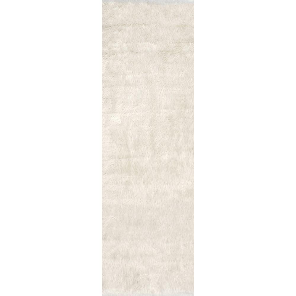 Cloud Shag White 3 ft. x 8 ft. Runner Rug