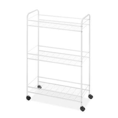 Epoxy Coated Steel Slim Household Utility Cart in White
