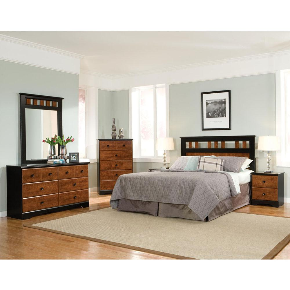 Cambridge Westminster 5 Piece Cherry/Black Queen Bedroom Set With  Headboard, Dresser,