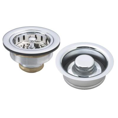 3-1/2 in. Post Style Large Kitchen Basket Strainer with ISE Style Disposal Flange and Stopper in Polished Chrome