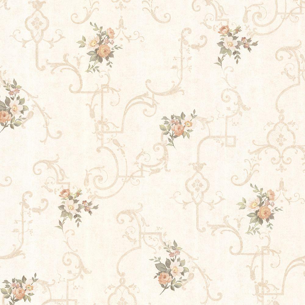 Lori Peach Floral Trellis Wallpaper