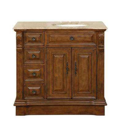 38 in. W x 22 in. D Vanity in Walnut with Stone Vanity Top in Travertine with Ivory Basin