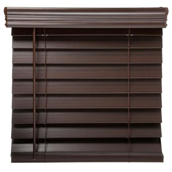 Home Decorators Collection Espresso Cordless Room Darkening 2 5 In Premium Faux Wood Blind For Window 23 In W X 64 In L 10793478361984 The Home Depot