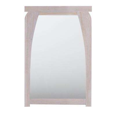 Coastal Vogue Tranquility 24 in. L x 35 in. H Single Solid Teak Framed Mirror in Rustic White