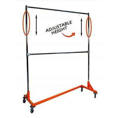 Industrial Strength Decorative Orange Base Z Rack with Add-On Hangrail and Built-In Height Extensions