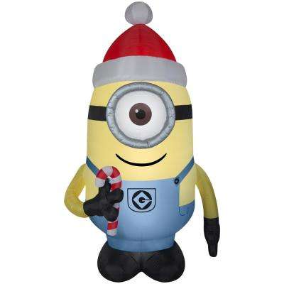 52.36 in. W x 44.49 in. D x 90.16 in. H Inflatable Airblown-Stuart with Santa Hat