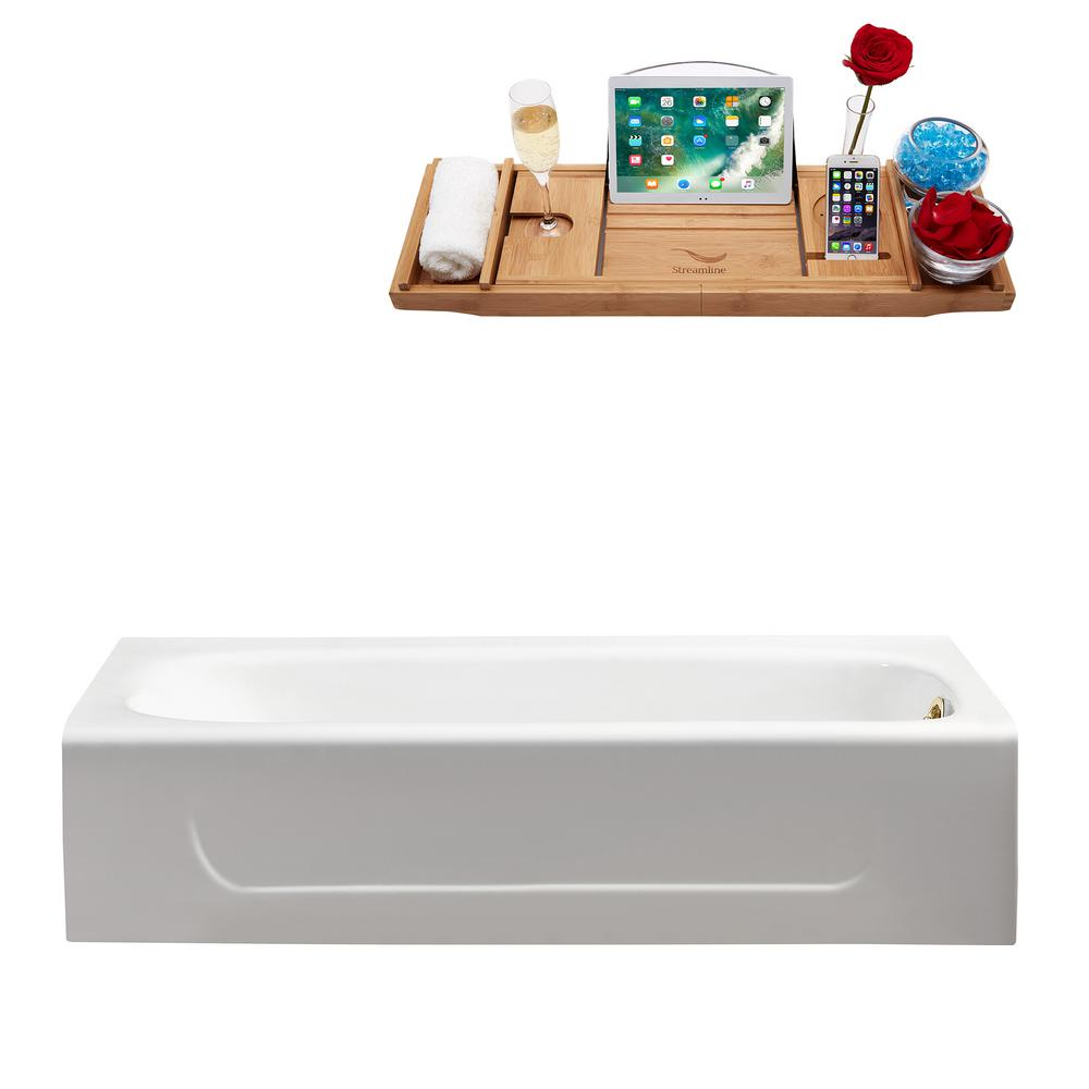 Streamline 59.8 in. Cast Iron Right Hand Drain Rectangle Alcove Non-Whirlpool Bathtub in Glossy White
