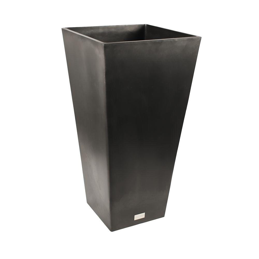 Dia Square Black Tall Plastic Planter