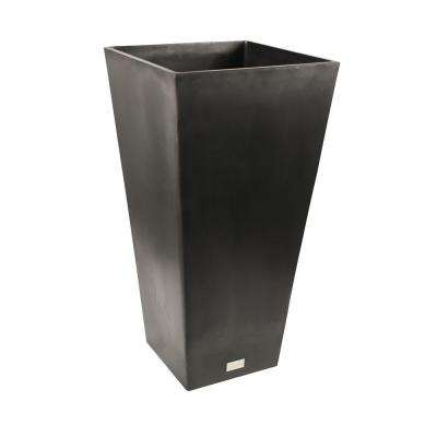 Midland 16 in. Dia Square Black Tall Plastic Planter