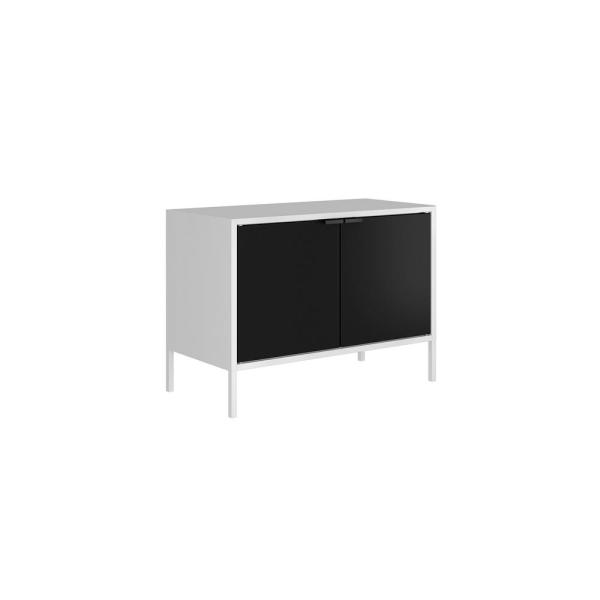Smart 28 in. White and Black Metal TV Stand Fits TVs Up to 25 in. with Cabinets
