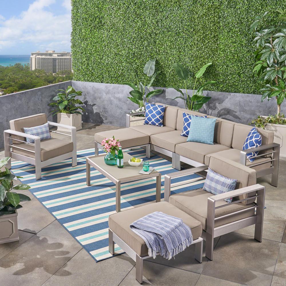 Cape Coral Silver 7-Piece Aluminum Patio Conversation Set with Khaki Cushions