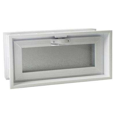 15-3/4 in. x 7-3/4 in. Convertible Universal Hopper Vent in White for 3 in. or 4 in. Glass Block Applications