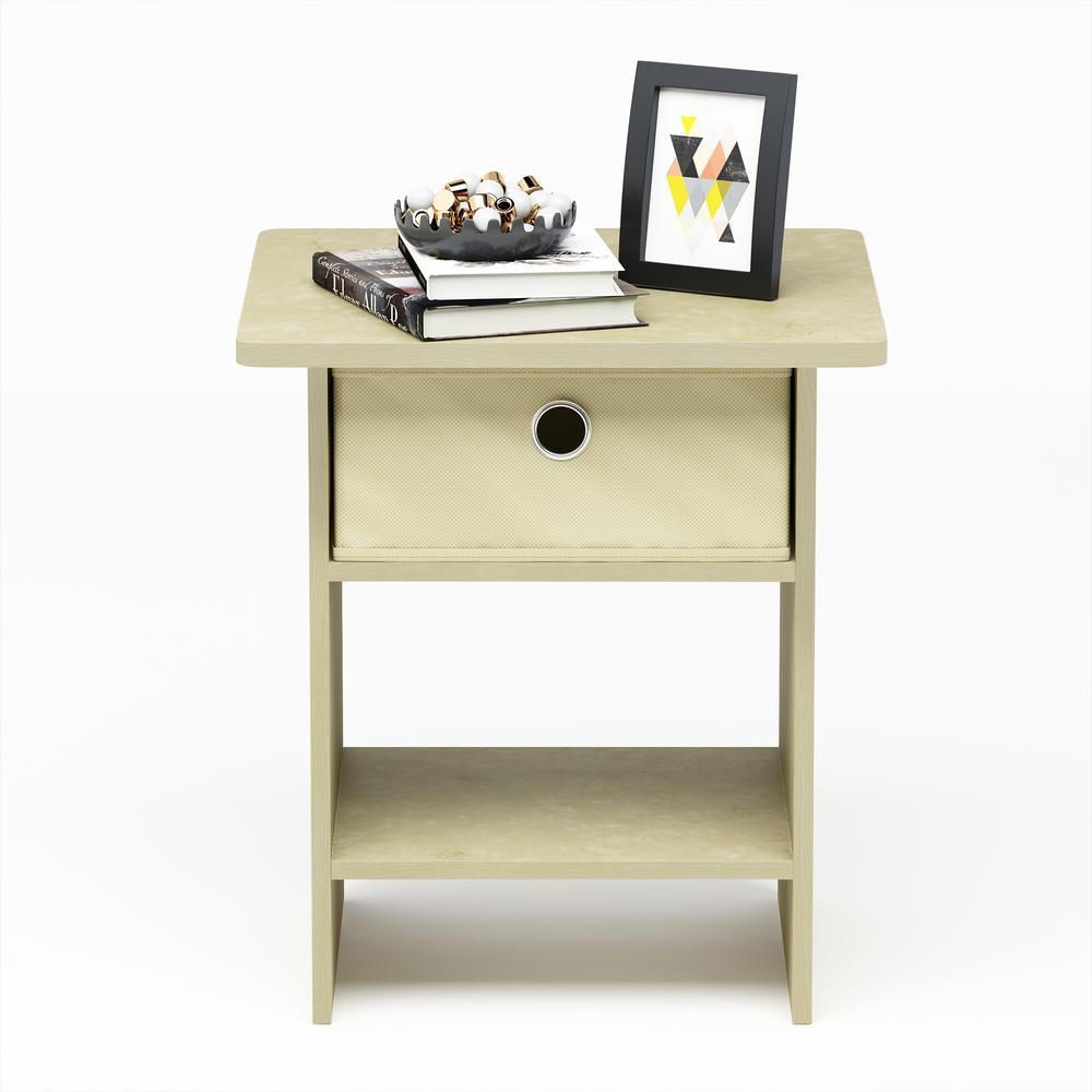 Home Living Cream Marble/Ivory End Table/Nightstand Storage Shelf with Bin
