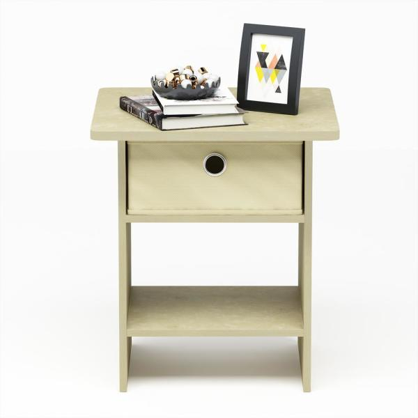 Furinno Home Living Cream Marble/Ivory End Table/Nightstand Storage Shelf with