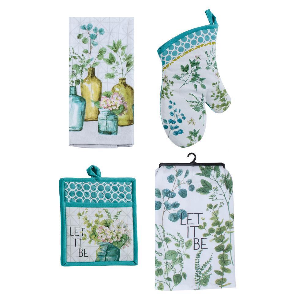 Greenery Cotton Multi Kitchen Textiles (Set of 4)
