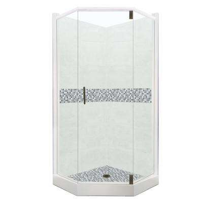 Del Mar Grand Hinged 36 in. x 42 in. x 80 in. Left-Cut Neo-Angle Shower Kit in Natural Buff and Black Pipe Hardware
