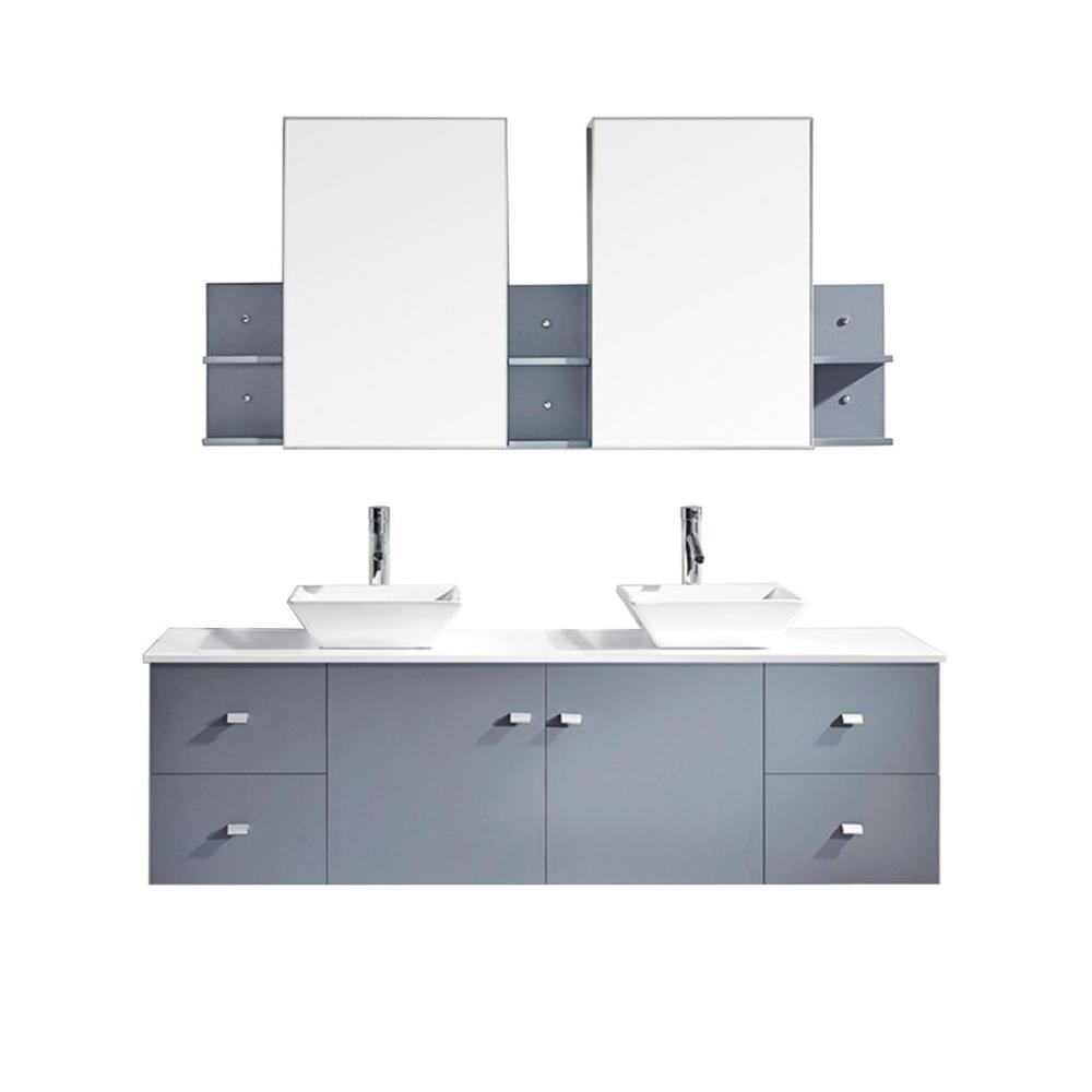Virtu USA Clarissa 72 in. W Bath Vanity in Gray with Stone Vanity Top in White with Square Basin and Mirror and Faucet