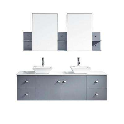 Clarissa 72 in. W x 22 in. D Vanity in Grey with Stone Vanity Top in White with White Basin and Mirror