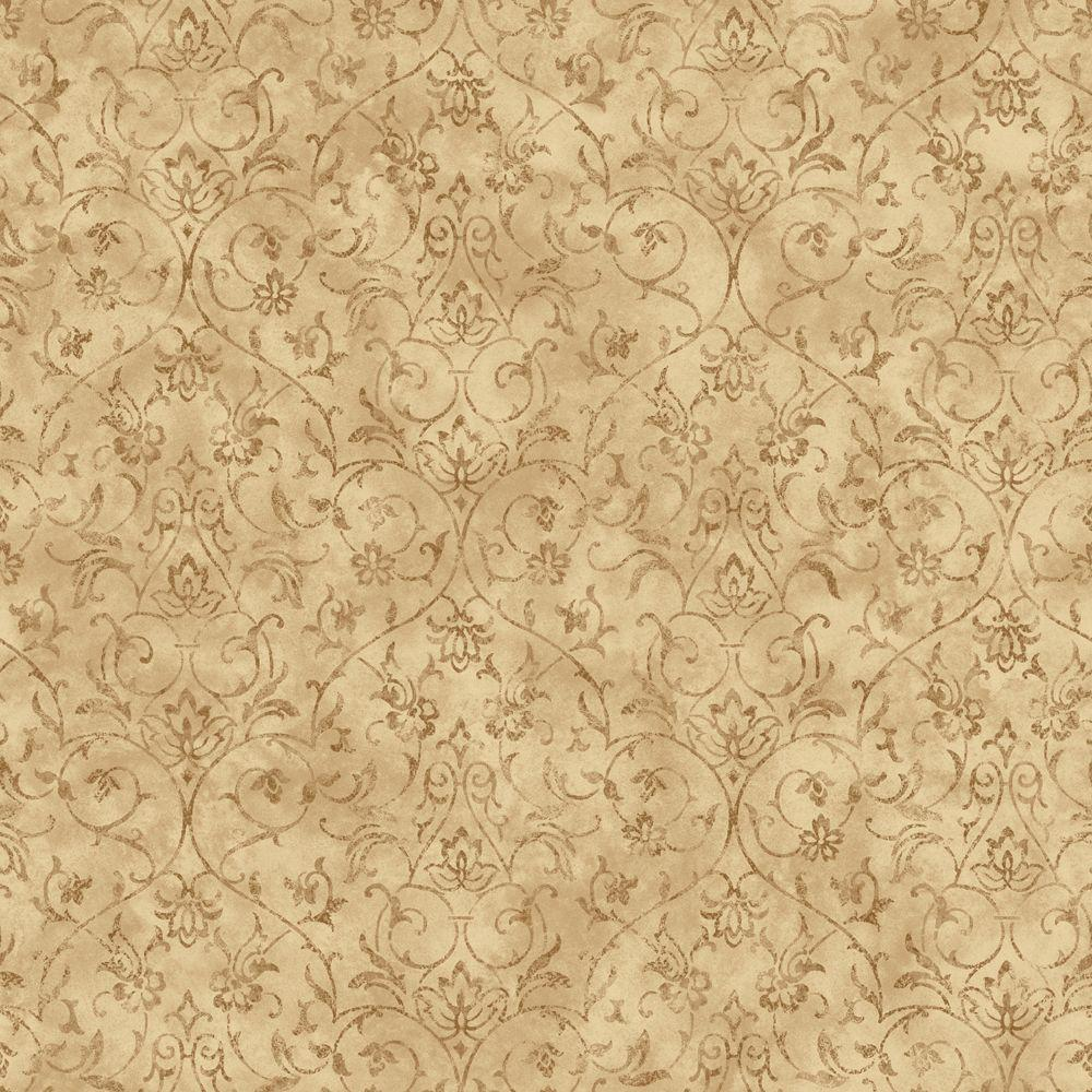 The Wallpaper Company 56 sq. ft. Brown And Beige Ironwork Scroll Wallpaper