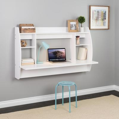 58.25 in. Double Wide White Floating Desk