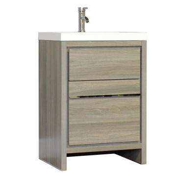 Ripley 23.5 in. W x 18.75 in. D x 32.25 in. H Vanity in Gray with Acrylic Vanity Top in White with White Basin