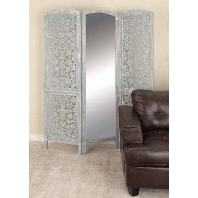 72 in. x 60 in. Rustic Wood and Mirror Three-Panel Screen with Light Gray Finish