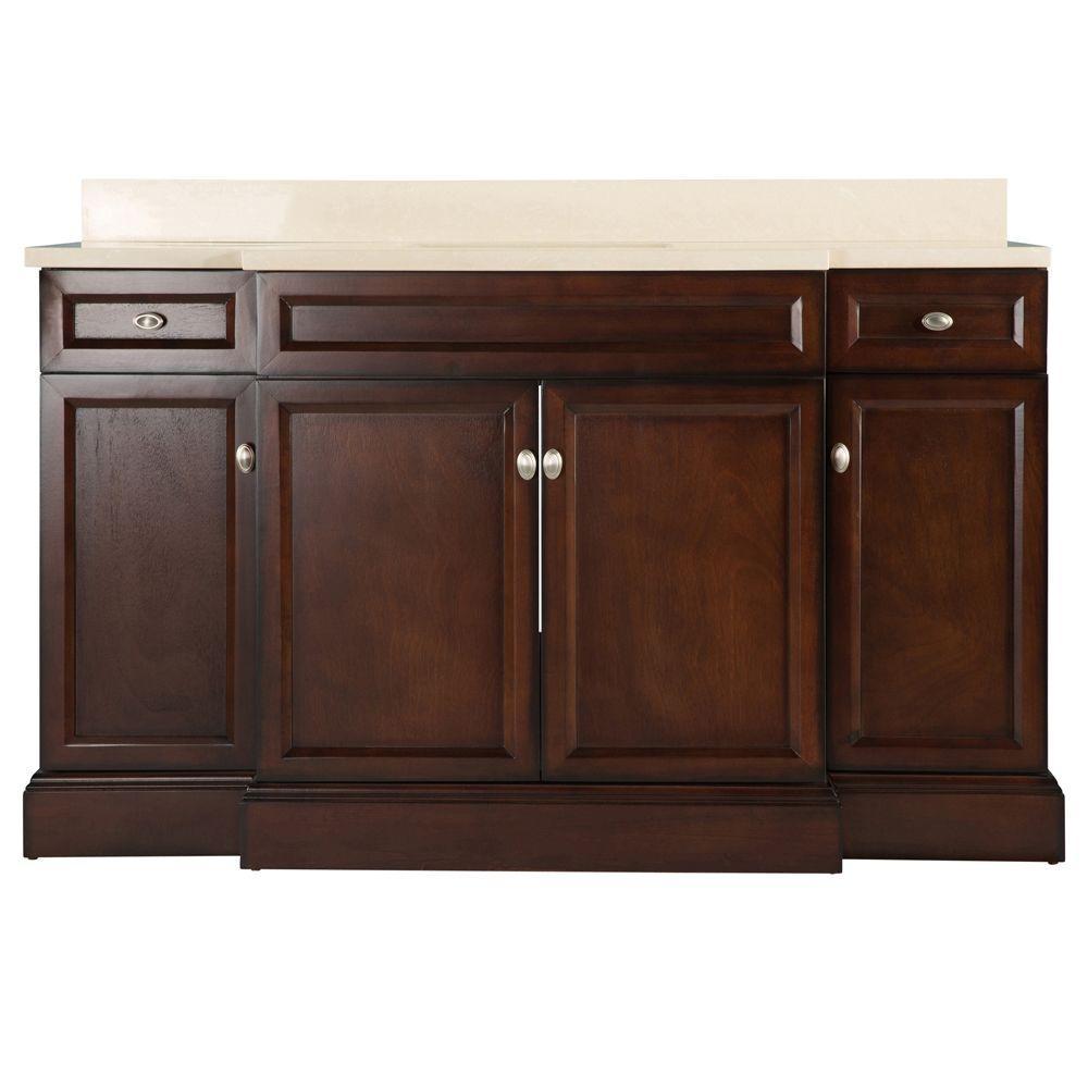 Home Decorators Collection Teagen 58 in. W Bath Vanity in Dark Espresso with Engineered Stone Vanity Top in Beige