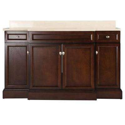 Teagen 58 in. W Bath Vanity in Dark Espresso with Engineered Stone Vanity Top in Beige