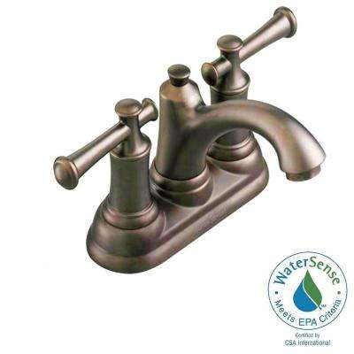 Portsmouth 4 in. Centerset 2-Handle Bathroom Faucet with Lever Handles and Speed Connect Drain in Oil Rubbed Bronze