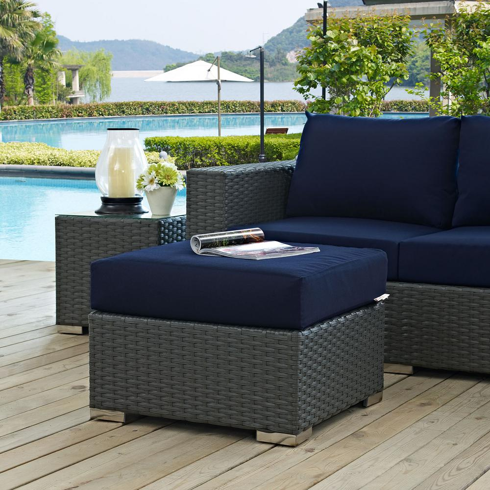 Sojourn Wicker Outdoor Patio Ottoman with Sunbrella Canvas Navy Cushion