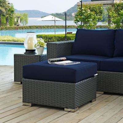 Sojourn Wicker Outdoor Patio Ottoman with Sunbrella Canvas Navy Cushion - MODWAY - Brown - Outdoor Lounge Furniture - Patio Furniture - The