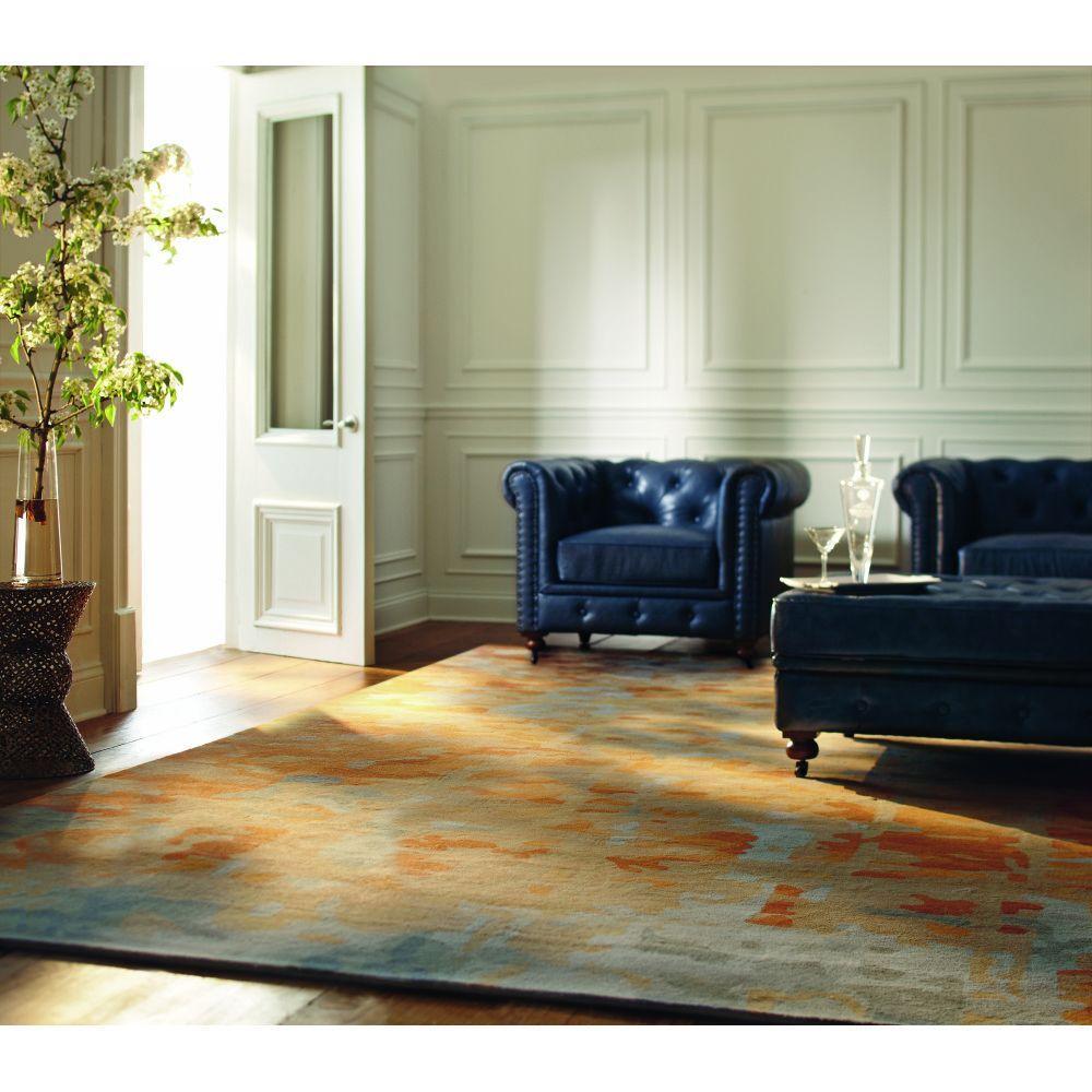 Internet #203195564. Home Decorators Collection Gordon Blue Leather Arm  Chair