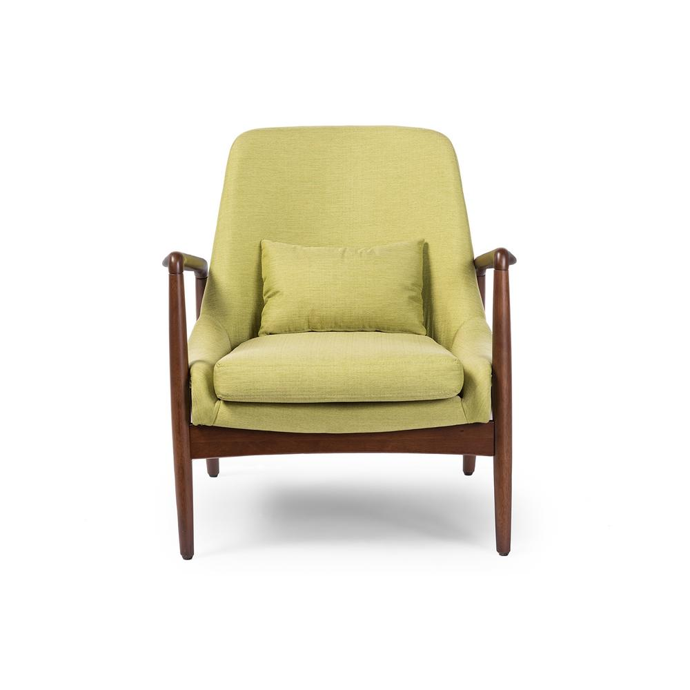 Baxton Studio Carter Mid Century Green Fabric Upholstered Accent Chair