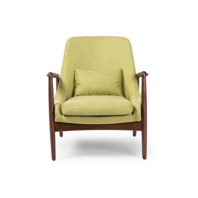 Carter Mid Century Green Fabric Upholstered Accent Chair