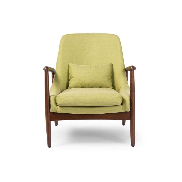 Baxton Studio Carter Mid-Century Green Fabric Upholstered Accent Chair 28862-6392-HD