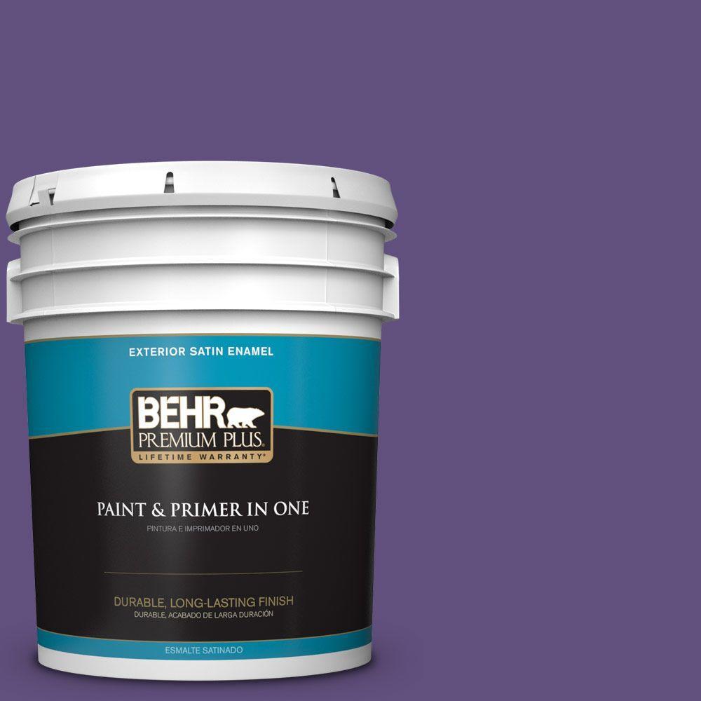 BEHR Premium Plus 5-gal. #S-G-650 Berry Syrup Satin Enamel Exterior Paint