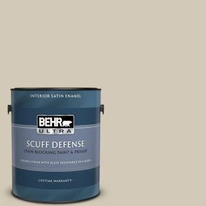 Behr Ultra 1 Gal N330 3 Unmarked Trail Extra Durable Satin Enamel Interior Paint Primer 775001 The Home Depot
